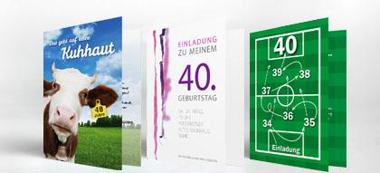 Einladungen 40. Geburtstag, Einladungskarten | Familieneinladungen.de