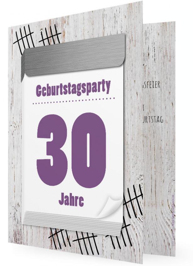 30. Geburtstag Einladung Party, Abreißkalender Lila