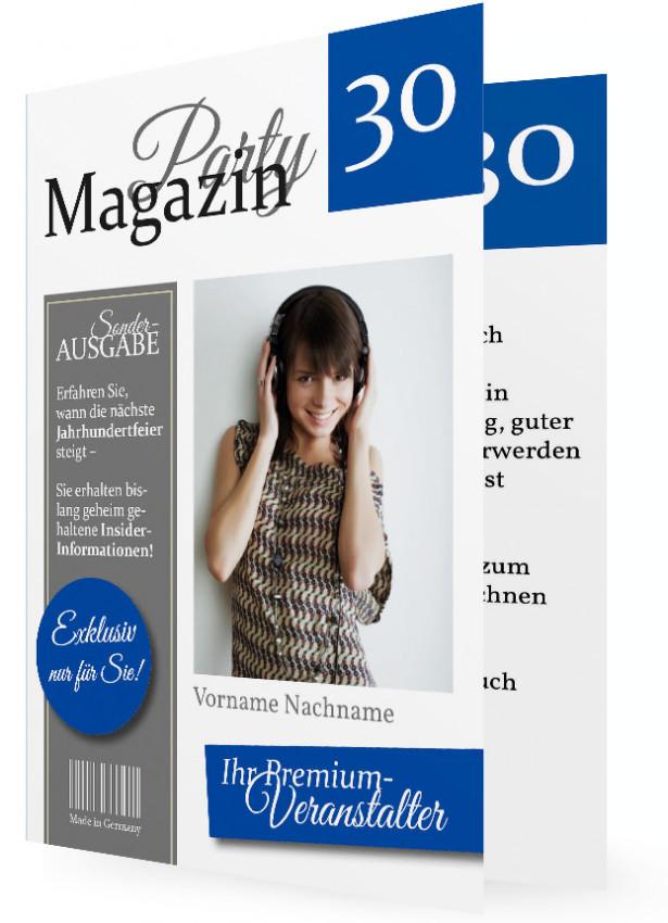 30. Geburtstag Einladung Vorlage, Magazin Blau Grau
