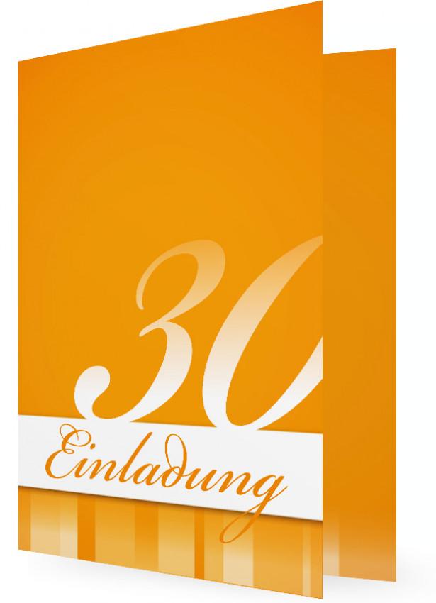 30. Geburtstag Einladungen Vorlagen, Ziffer Auf Fläche, Orange