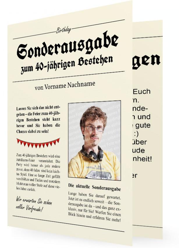 40. Geburtstag Einladungskarten Vorlage, Zeitung