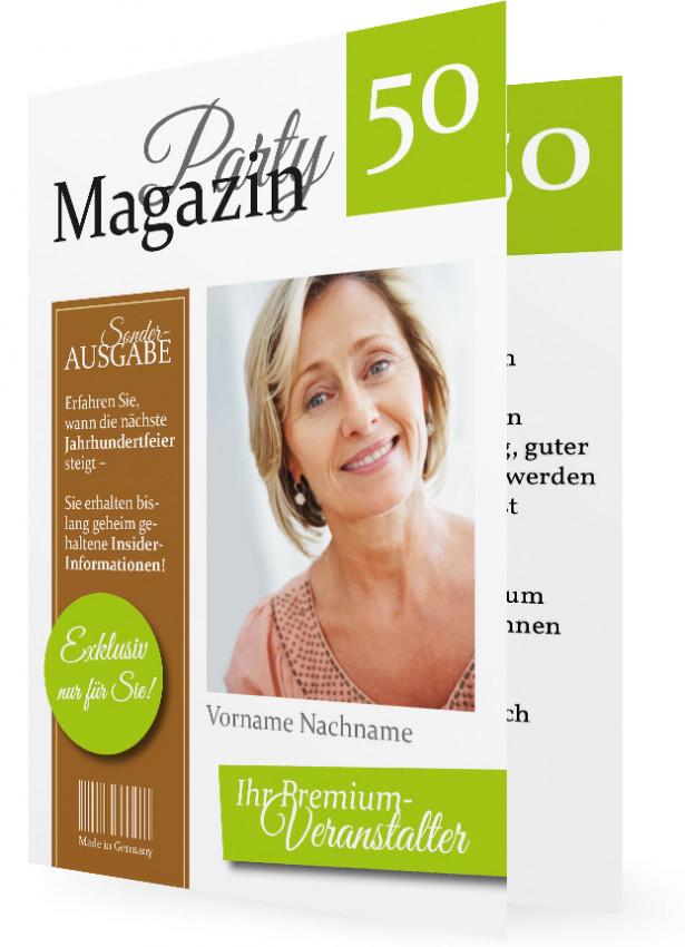 50 geburtstag einladung vorlagen magazin limettengrün braun