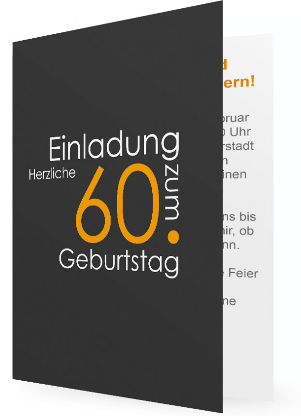 60. Geburtstag Einladungskarten, Schrift Orange