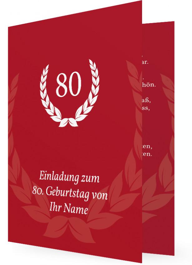80. Geburtstag, Einladung in Rot, Weißer Blätterkranz