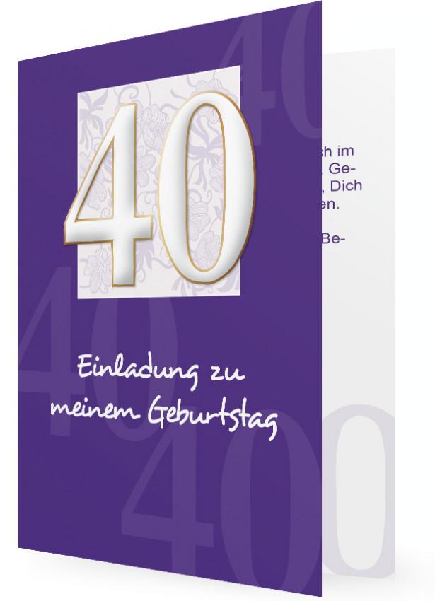 ... geburtstag einladungen 40 geburtstag einladung 40 geburtstag lila mit