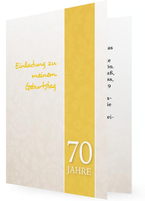 Einladung 70. Geburtstag, Karte Naturfarben Mit Hellen Blumenornamenten Und  Streifen In Gelb