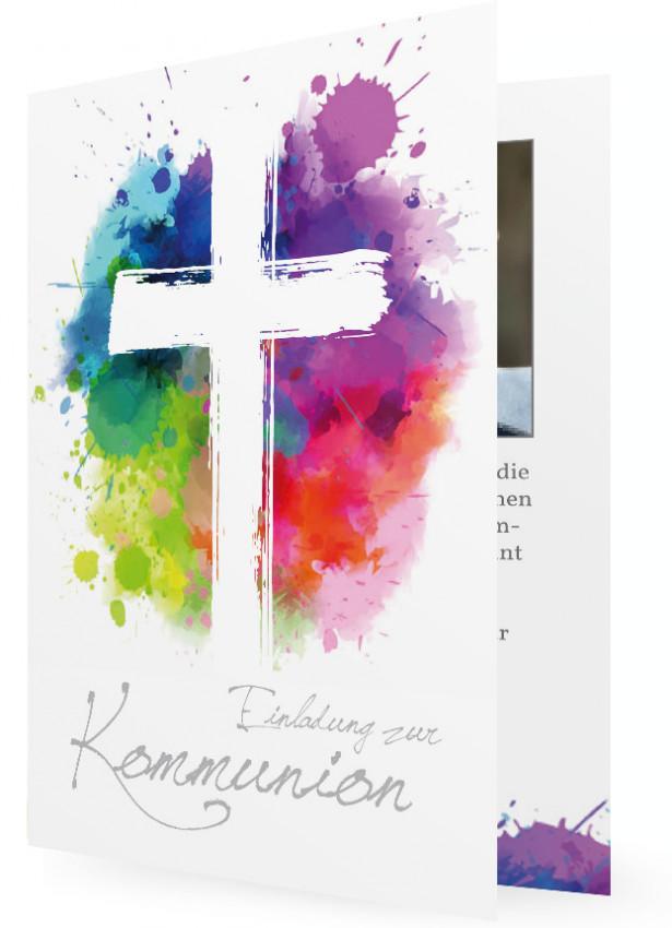 Einladung Erstkommunion, Kreuz Vor Bunten Klecksen