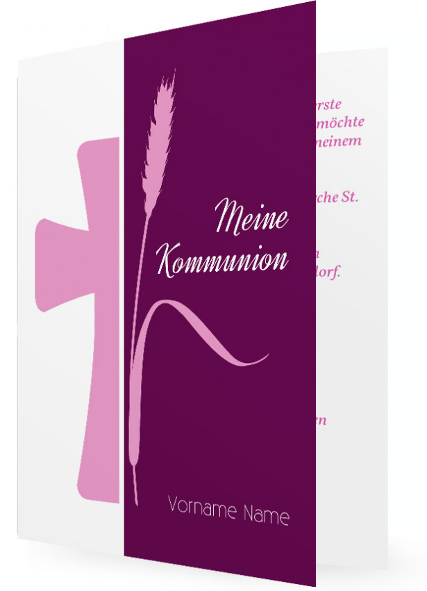 Einladung Erstkommunion Vorlagen, Kreuz Und Ähre In Beere Und Rosa