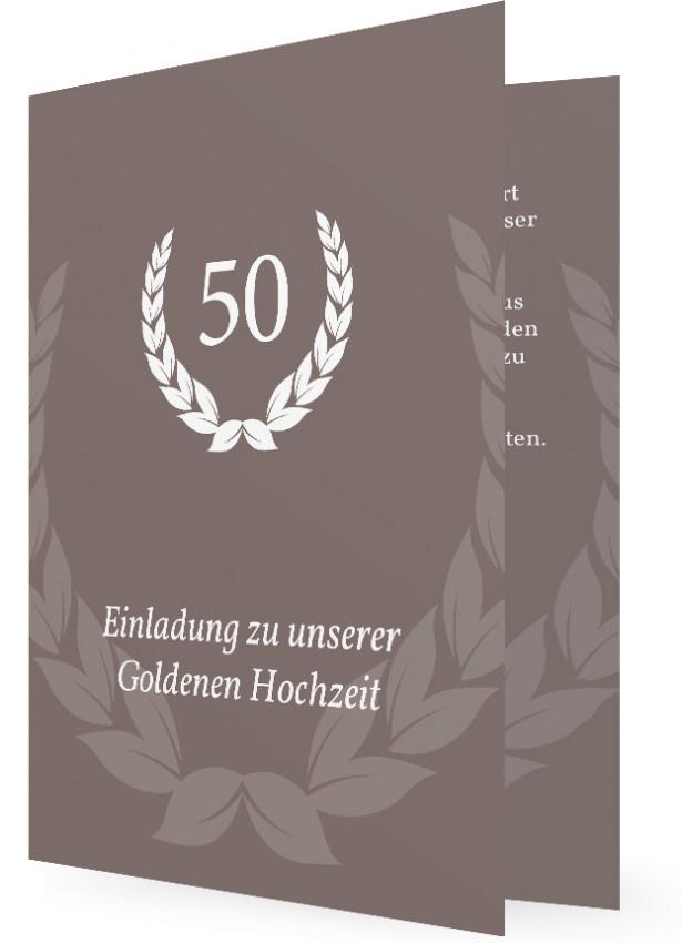 Einladung Für Goldene Hochzeit, Braun Grau Mit Weißer Schrift Und Kranz