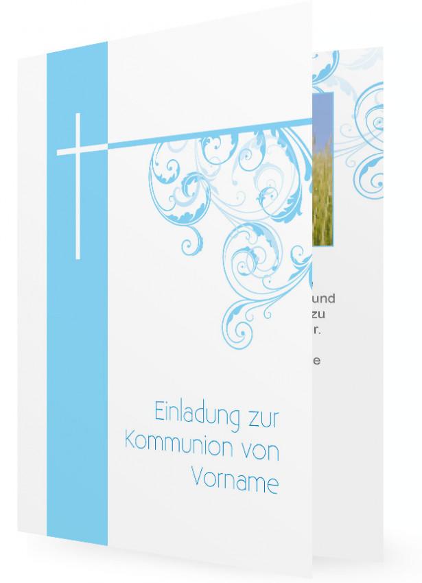 Einladung Für Kommunion, Hellblau Und Kreuz Mit Pflanzenranken