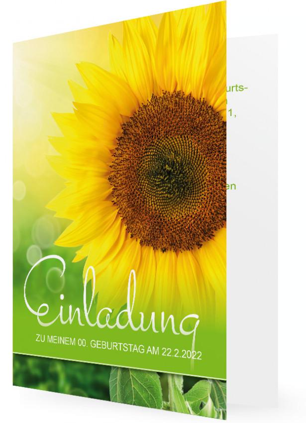 Einladung Gestalten, Vorlage Mit Großer Sonnenblume