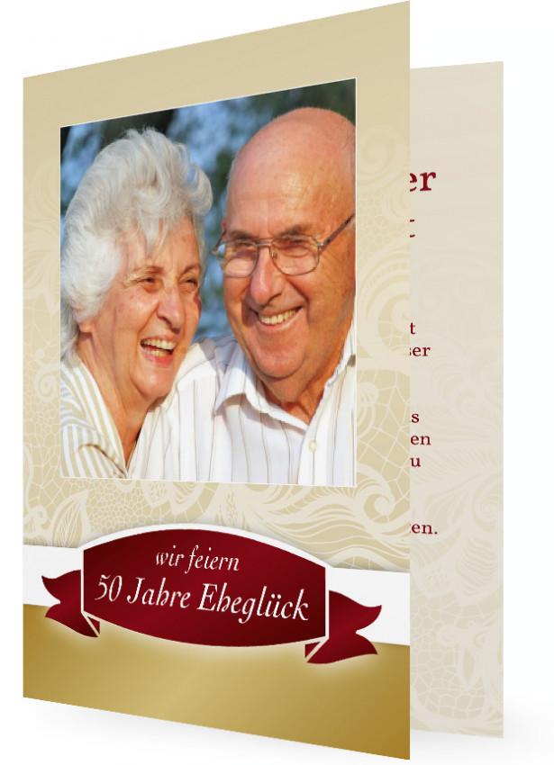 Einladung Goldene Hochzeit, Klassisch In Gold Und Rot Mit Bild Und Großer 50