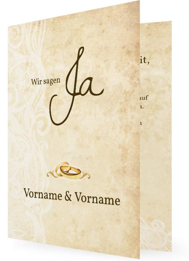 Einladung Hochzeit, Brauner Text Und Weiße Ornamente
