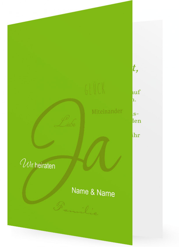 Einladung Hochzeit, Grün Mit Großen JA