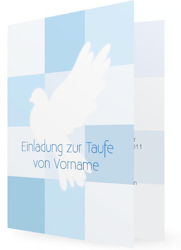 Einladung Taufe Junge, Taube Mit Blauen Quadraten