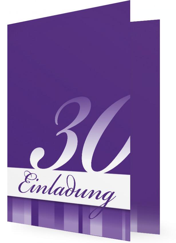 Einladung Zum 30. Geburtstag, Vorlagen In Dunkellila Mit Weißer Schrift Und  Streifen