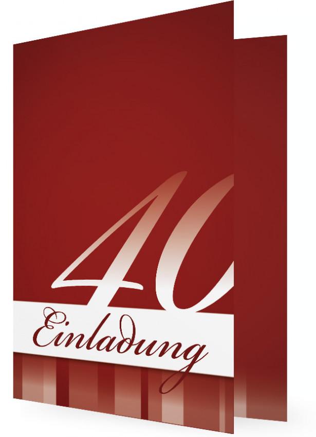 Einladung Zum 40. Geburtstag, Rote Vorlagen Ohne Bild, Große Ziffer Im  Unteren Teil
