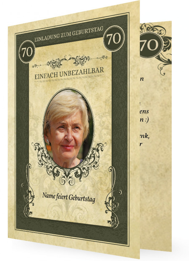 Einladungen Zum 70 Geburtstag Selbst Gestalten: Einladung Zum 70. Geburtstag Vorlage Gestalten