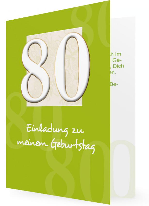 Einladung Zum 80. Geburtstag, 80 In Weiß Auf Grün