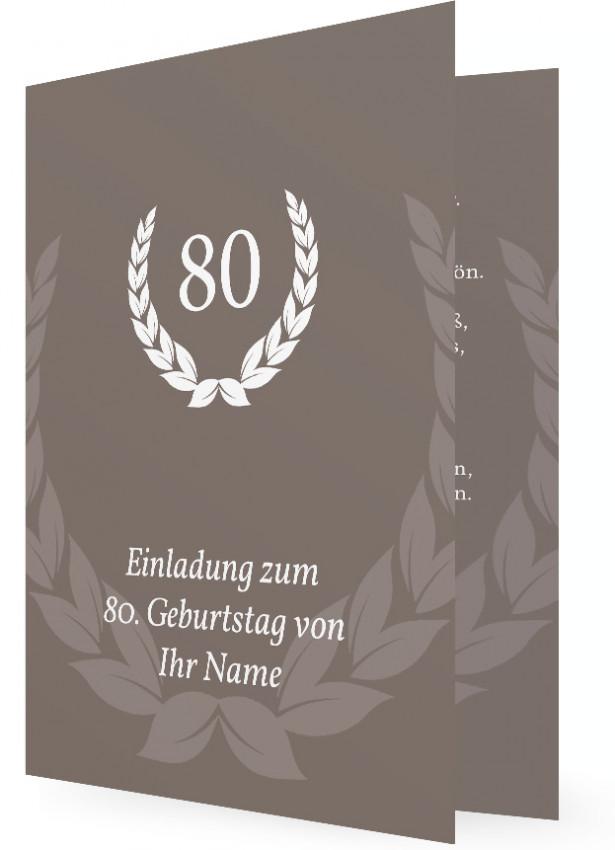 Einladung Zum 80 Geburtstag, Grau Braun Mit Weißen Kranz