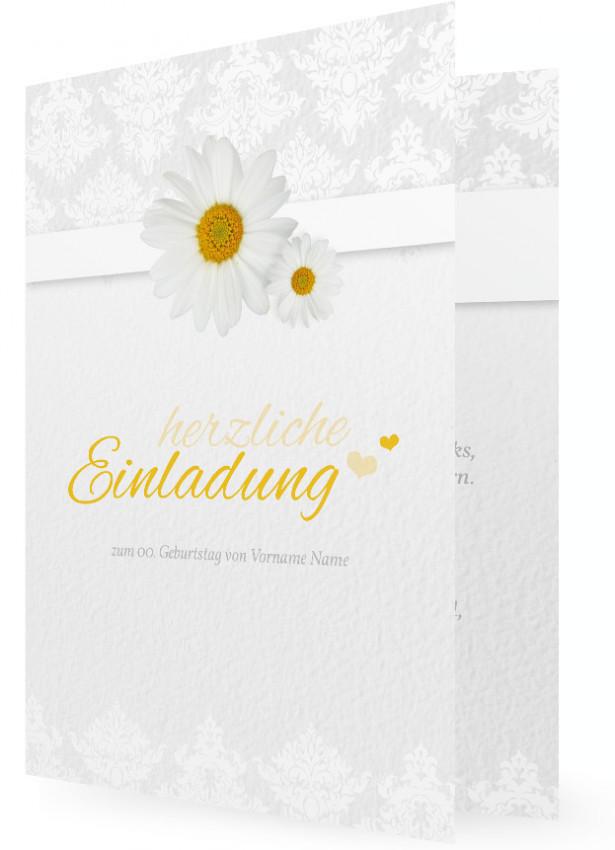 Einladung Zum Geburtstag Gestalten, Margeriten, Weißer Hintergrund