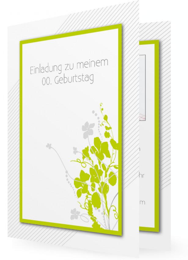 Einladung zum Geburtstag, Vorlage mit Grünem Rahmen, Grün-Graues ...