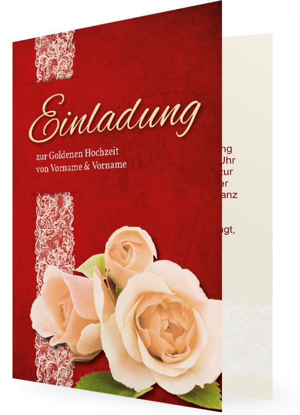 Einladung Zur Goldenen Hochzeit (Vorlage), Rot Mit Rose In Creme Rechts  Unten