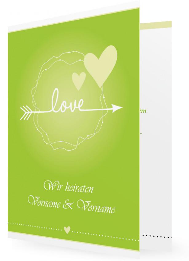 Einladung Zur Hochzeit, Karte Grün, Herzen Und Pfeil