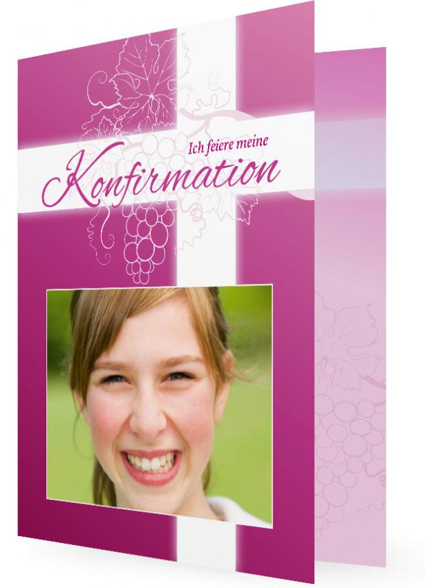 Einladung Zur Konfirmation, Rosa Karte Mit Weißen Kreuz Und Traubenpflanze