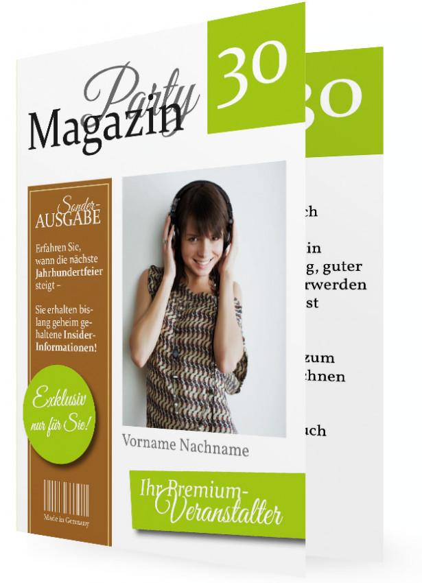 Einladungen 30. Geburtstag Vorlage, Magazin Limettengrün Braun