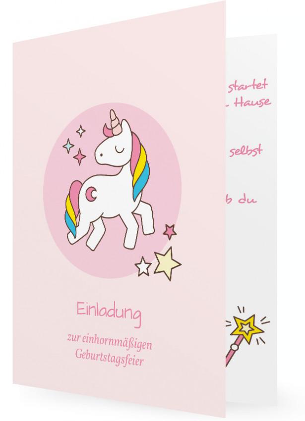 Einladungen Für Kindergeburtstag Vorlagen, Pinkes Einhorn