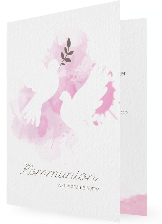 Einladungen Für Kommunion, Tauben Vor Farbklecks In Rosa