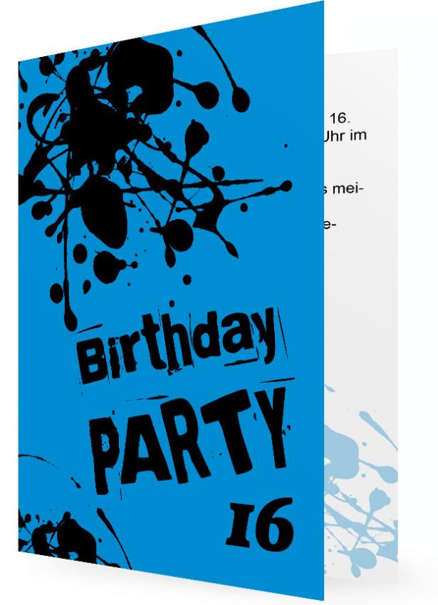 Einladungen Für Teens, Karten In Blau Mit Schwarzen Klecks