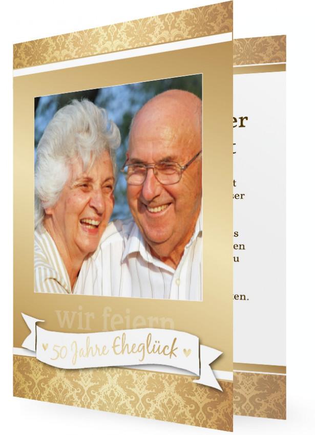 einladungen goldene hochzeit | familieneinladungen.de, Einladung