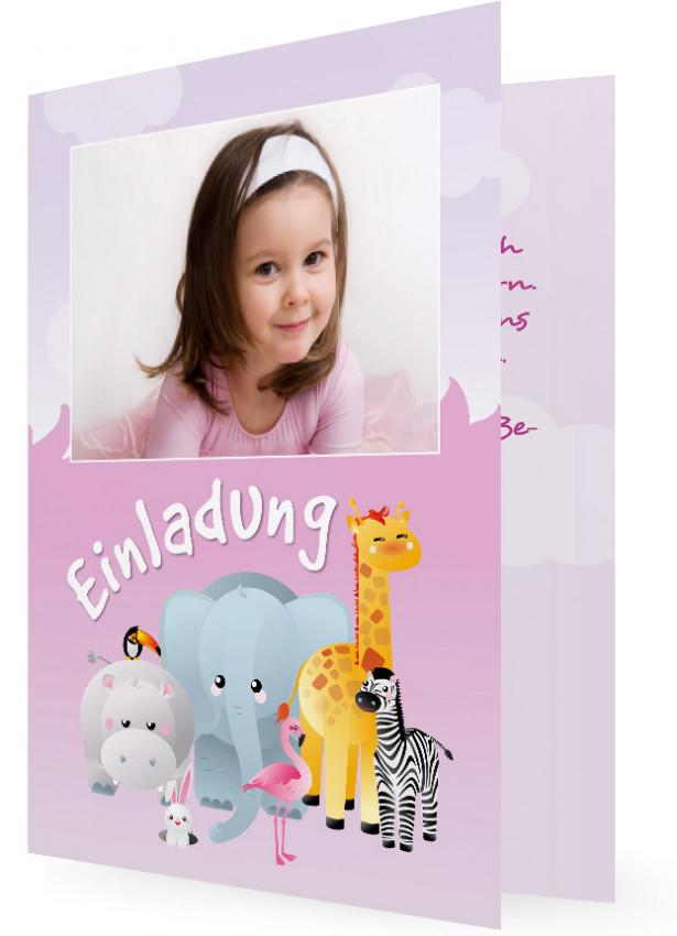 Einladungen Kindergeburtstag, Zoo Tiere Vor Rosa Hintergrund