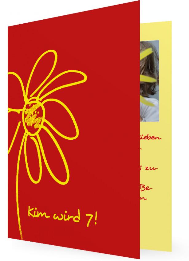Schön Einladungen Kindergeburtstag, Rot Mit Gelber Blume