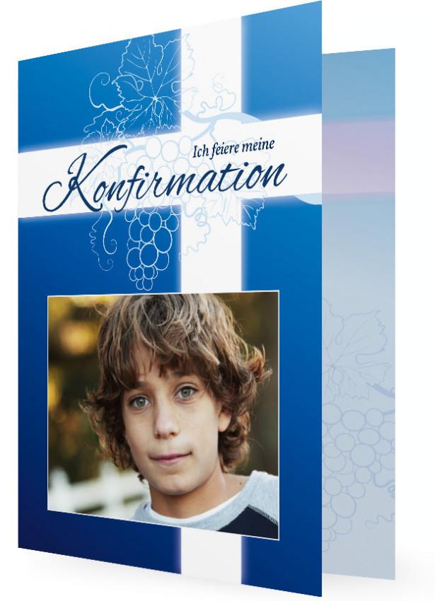 Einladungen Konfirmation, Dunkles Blau Mit Weiß Und Weintraubenranken Um  Kreuz