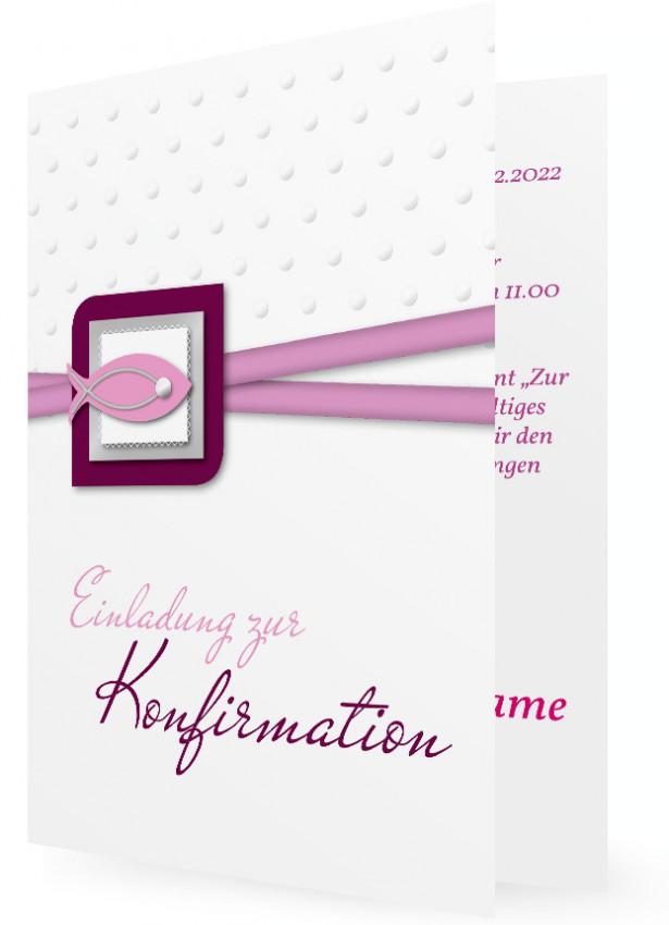 Einladungen Zur Konfirmation Vorlage, Gepunktet Mit Fisch, Rosa