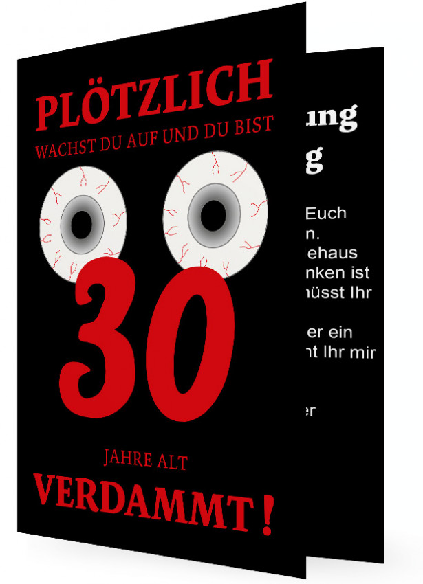 einladungskarte 30. geburtstag | familieneinladungen.de, Einladungsentwurf