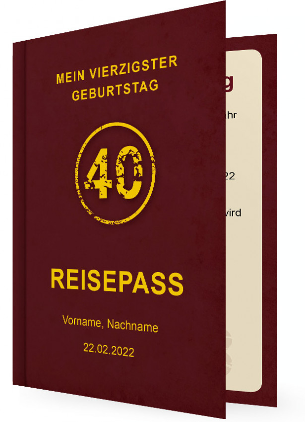 einladungskarte 40. geburtstag | familieneinladungen.de, Einladungsentwurf