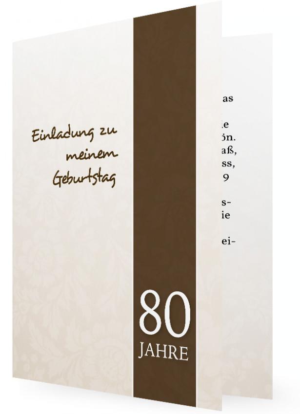 Einladungskarte 80. Geburtstag, Weiße Schrift Auf Braunem Streifen,  Gemustert Mit Blumen