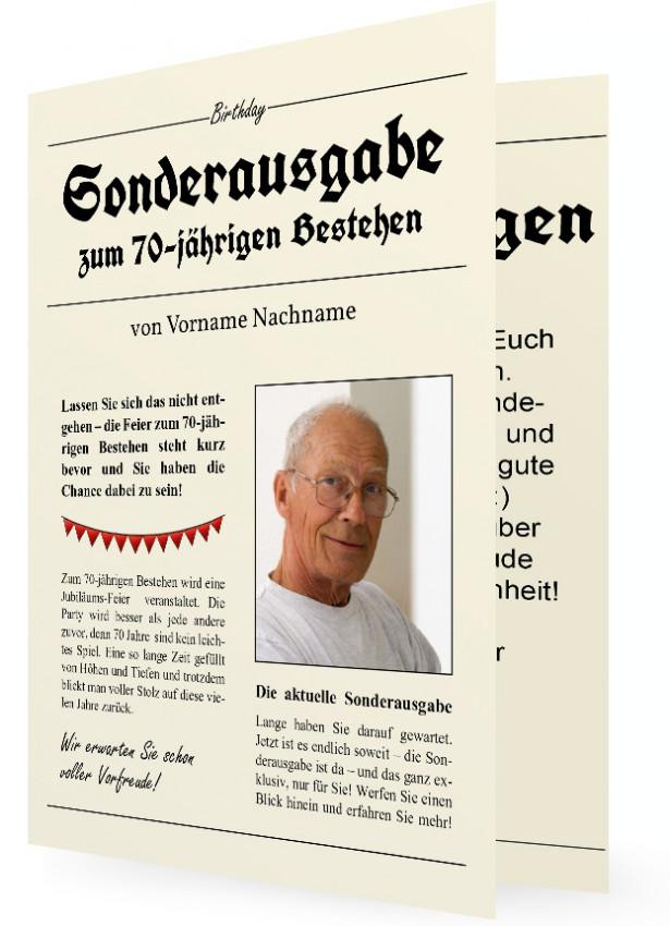 einladungskarte für 70. geburtstag | familieneinladungen.de, Einladungsentwurf