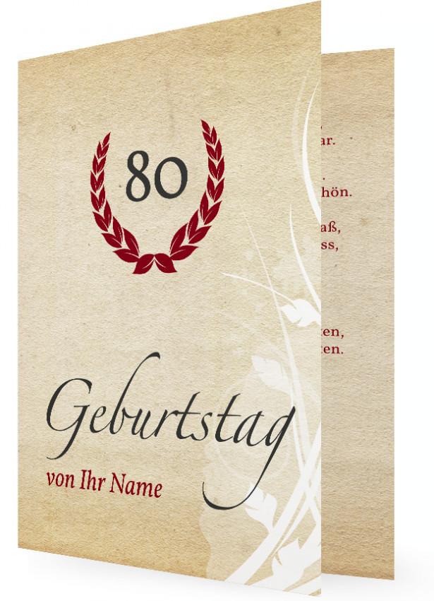 Einladungskarte für 80. Geburtstag | Familieneinladungen.de