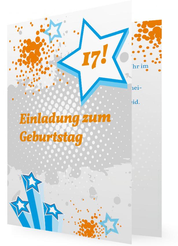 Einladungskarte Geburtstag Teens (Vorlagen), Blaue Sterne Und Orange  Punkt Kleckse