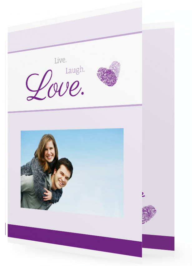 Einladungskarte Hochzeit, Fingerprint Lila