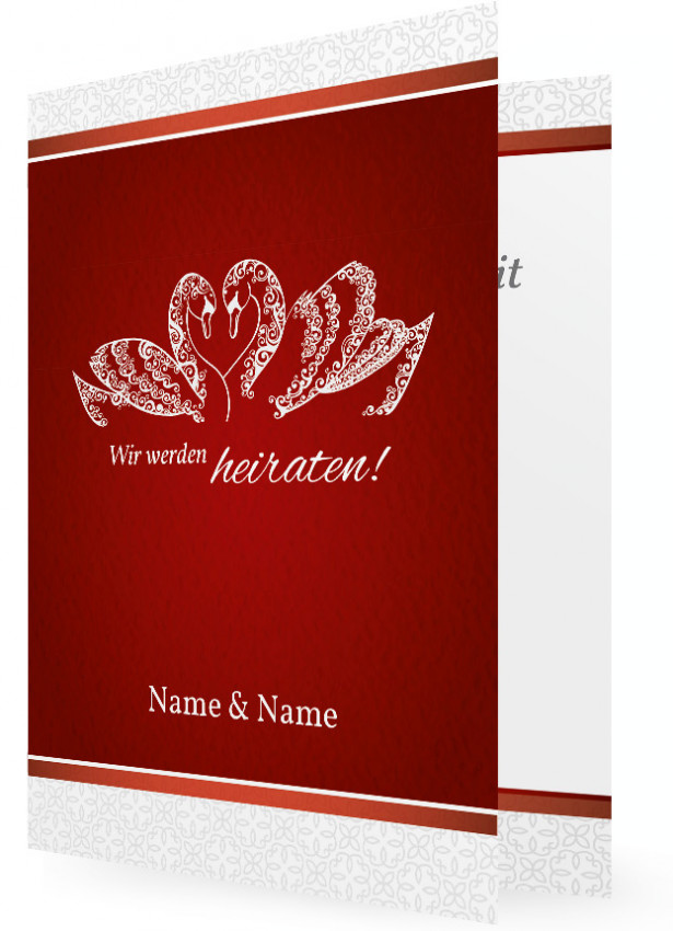 Einladungskarte Hochzeit, Schwäne In Weiß Auf Roten Hintergrund,  Blumenranken
