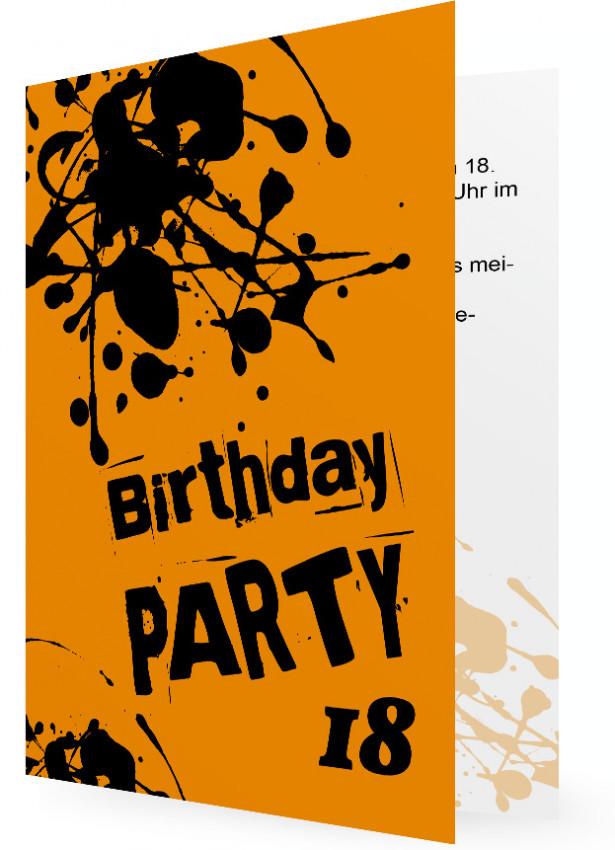 Einladungskarte Zum 18. Geburtstag, Große Schwarze Kleckse Auf Orangen  Hintergrund