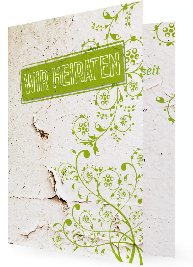 Einladungskarte Zur Hochzeit, Grüne Ranken Vor Kaputter Wand