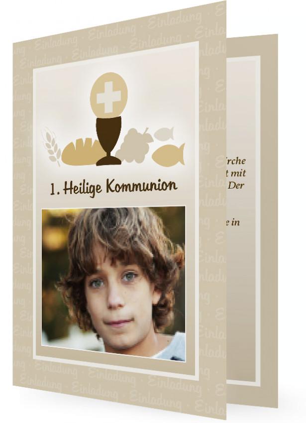Einladungskarte Zur Kommunion, Hellbraun Mit Kelch, Brot, Fisch Und Trauben