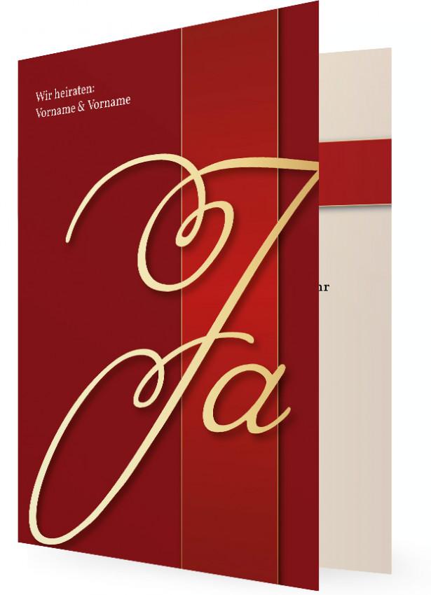 Einladungskarten Für Hochzeit, Klassisch Rot Mit Goldfarbenen Ja